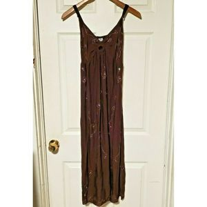 Island planet embroidered sundress, small, brown